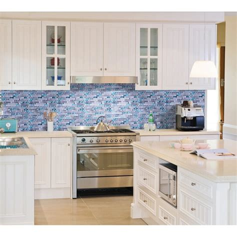 Wall Tiles For Kitchen Backsplash Blue Glass Mosaic Wall Tiles Gray Marble Tile