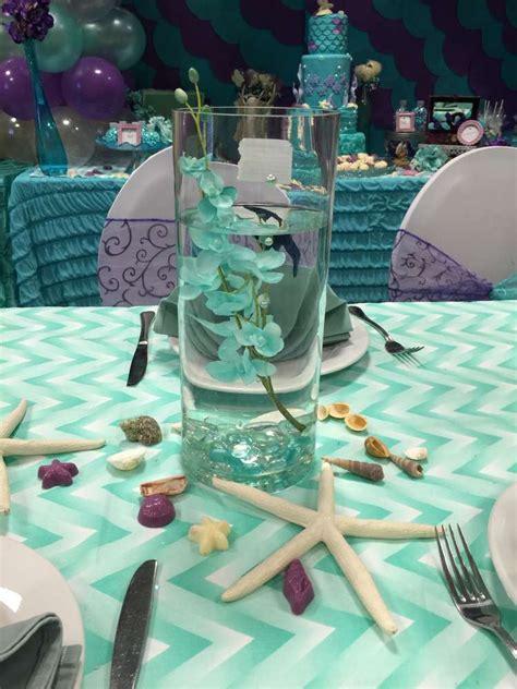 mermaid centerpiece water vase and sea shells mermaid ideas mermaid