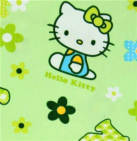 wallpaper hello kitty green green kawaii fabric with hello kitty and flowers hello