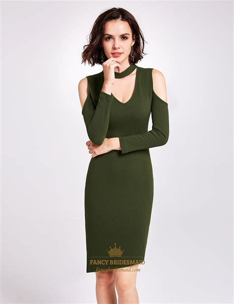Simple Asimetris Knitt Dress asymmetric knee length bodycon v neck knitting dress with sleeves fancy bridesmaid dresses