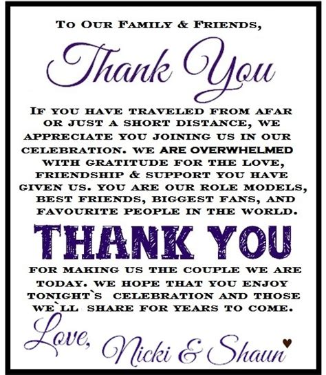 thank you letter to and for wedding my diy wedding thank you cards for each table setting