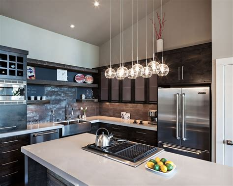 Contemporary Kitchen Lights Modern Home In Eugene Oregon By Iverson Signature Homes