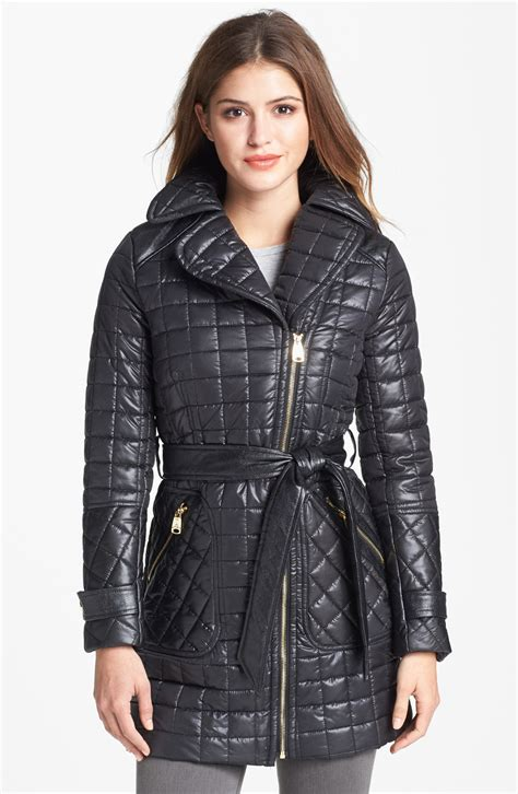Via Spiga Quilted Coat by Via Spiga Asymmetrical Belted Quilted Coat In Black Lyst
