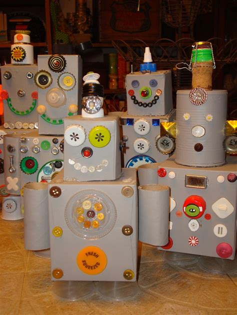 ls made from recycled materials recycle robots made from houshold items like soup cans