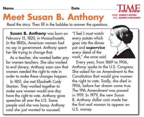 biography susan b anthony grade 2 student centered resources and student on pinterest