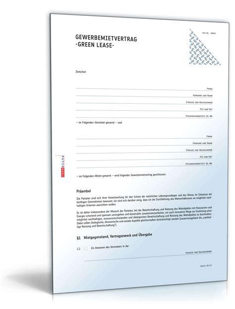 Muster Mietvertrag Gewerbe gr 252 ner mietvertrag gewerbe rechtssicheres muster zum