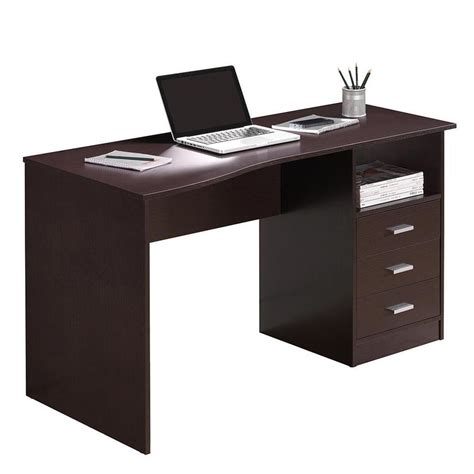 Laptop Storage Desk Modern Computer Workstation Desk With Three Storage Drawers Ebay