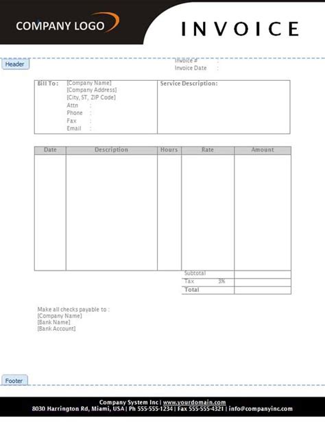 10 Best Images of Free Service Invoice Template   Free
