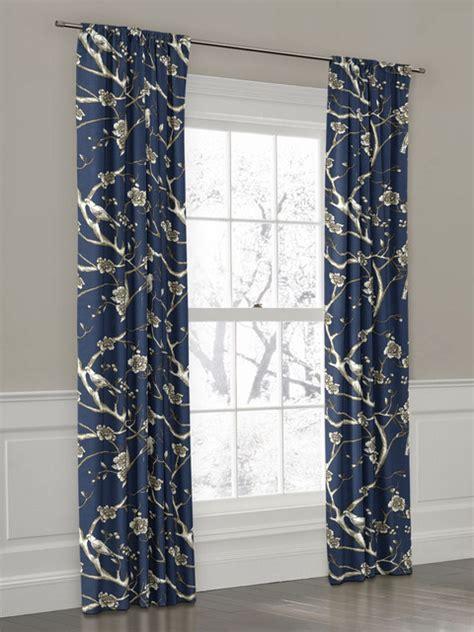 photo print curtains navy bird branch rod pocket drapery new york by loom