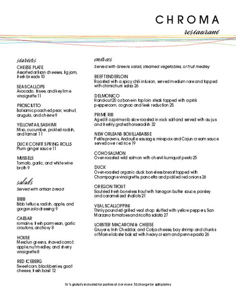 color fine dining menu fine dining menus