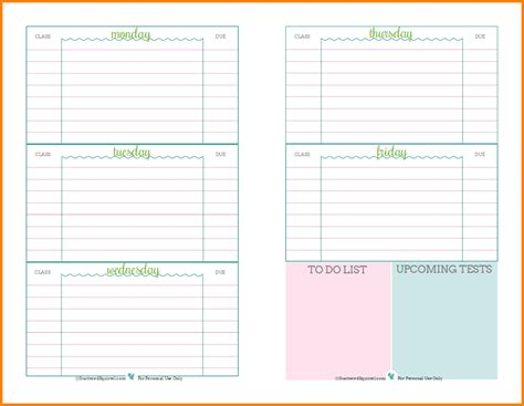 weekly planner template for students high school student agenda template 1000 ideas about