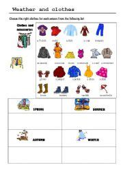 clothes for different seasons worksheet weather clothing yahoo image search results pictures