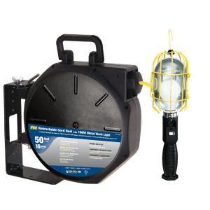 retractable work light home depot tasco 50 ft 16 3 sjtw industrial metal guard worklight