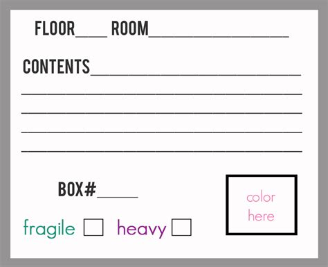 box label template staying organized on moving day free printable packing