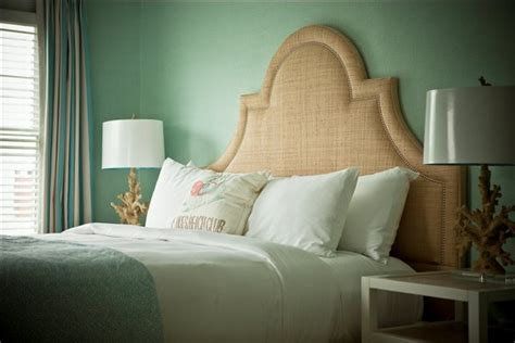 seafoam green headboard raffia headboard cottage bedroom jonathan adler