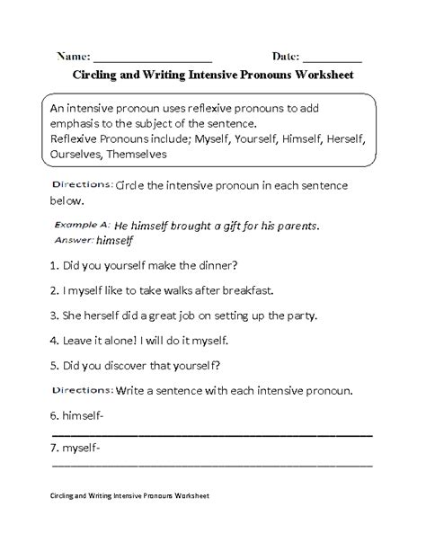 Reflexive And Intensive Pronouns Worksheet by Englishlinx Pronouns Worksheets