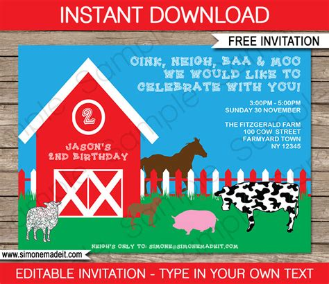 FREE Printable Barnyard Farm Invitation template