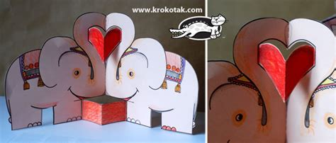 elephant pop up card template krokotak pop up cards animals in