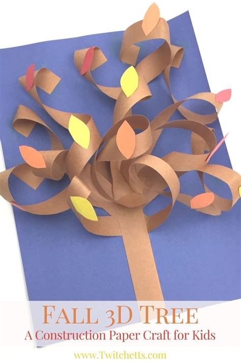 Construction Paper Crafts For Fall - fall 3d construction paper tree autumn crafts for