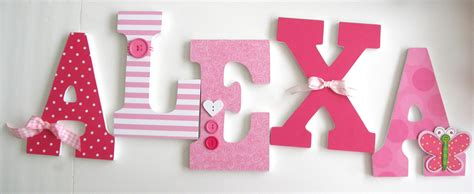 Decorated Wooden Letters For Nursery Custom Wooden Letters Pink Butterfly Theme Nursery Bedroom Home D 233 Cor Wall Decorations Wood