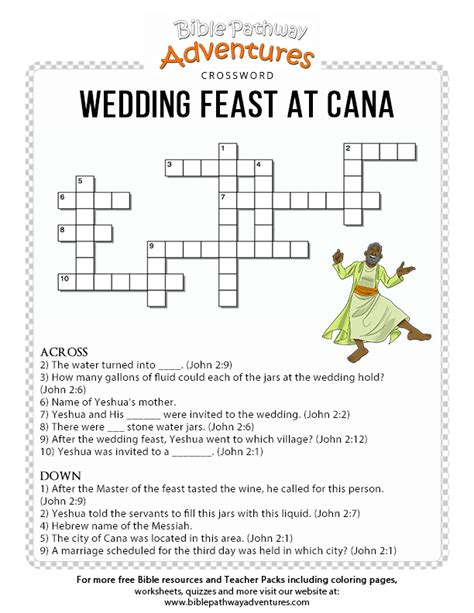 Wedding At Cana Word Search bible crossword puzzle wedding feast at cana free