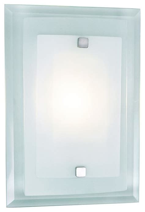 glass plate wall one light polished chrome clear wall plate frosted cover