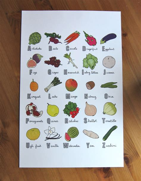 Colorful Kitchen Canisters produce abecedary print fruit and vegetable alphabet