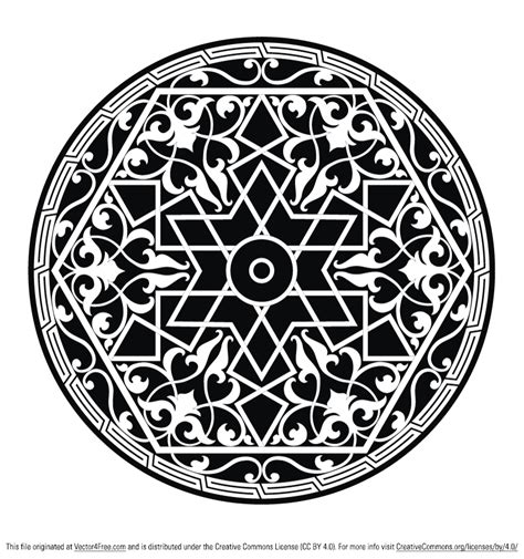 islamic round pattern vector round ornamental element free vector art