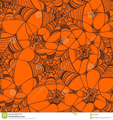 orange pattern web vector seamless pattern with spider web on orange stock