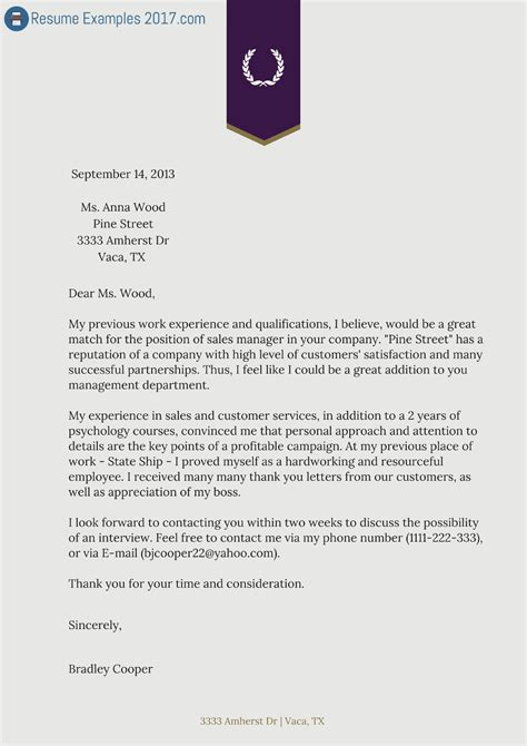 The Best Cover Letter by Exle Of 2017 Management Resume