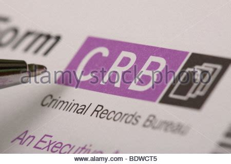 Enhanced Criminal Record Bureau Disclosure Crb Criminal Records Bureau Disclosure Identity Id Check Form Uk Stock Photo Royalty