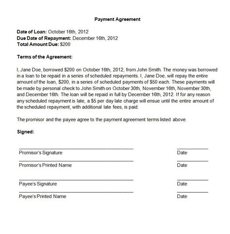 payment agreement template free payment agreement contract template emsec info
