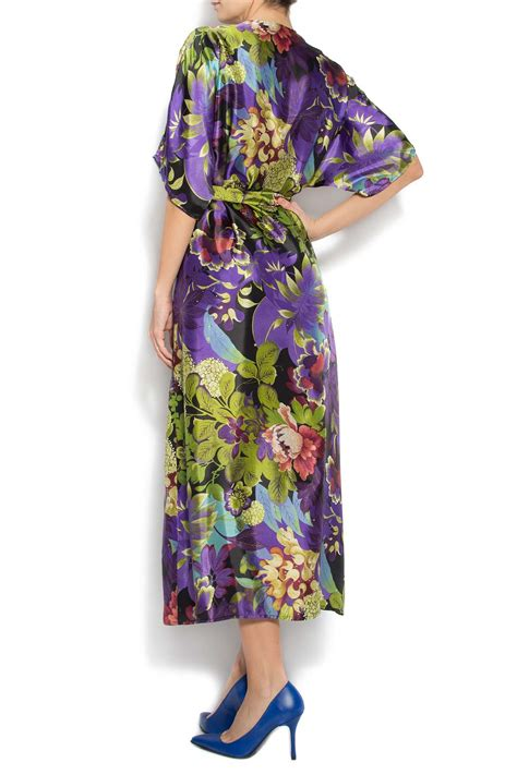 Robe Longue Soie Fleurie - robe kimono en soie fleurie avec shorts robes longues