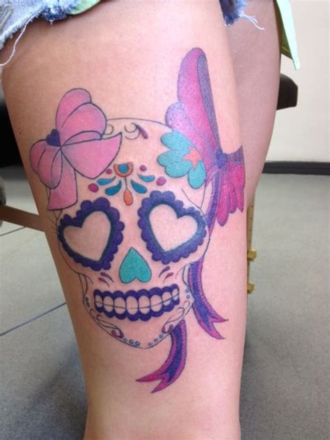 girly skull tattoos designs girly skull sugar skull pink bows thigh