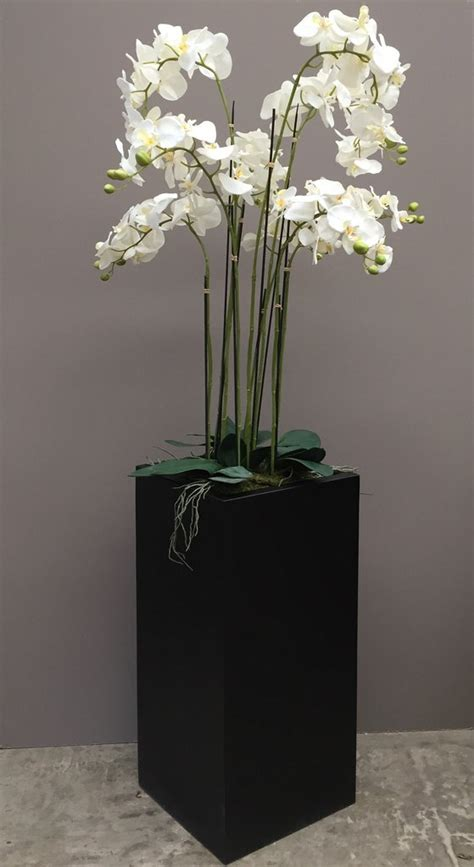 floor standing artificial orchid  tall square planter