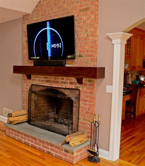 how to install a mantel on a brick fireplace tv installation on brick fireplace in easton wires run
