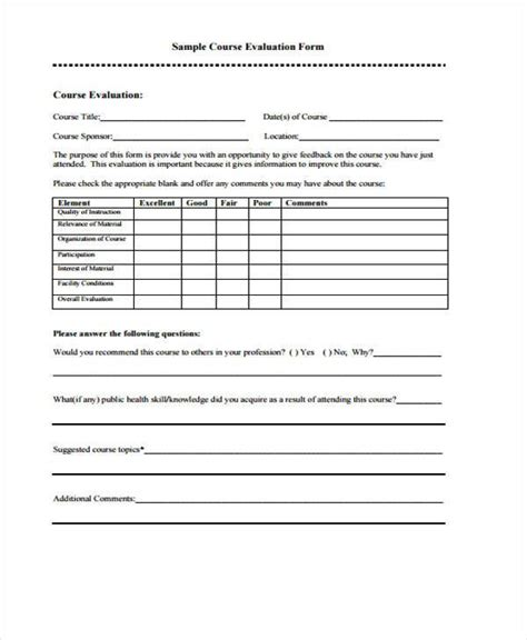 end of course evaluation template evaluation forms