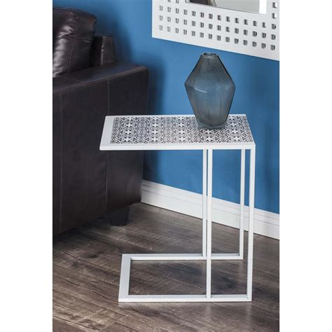 modern white table l modern l shaped lattice side table in white 65658 the