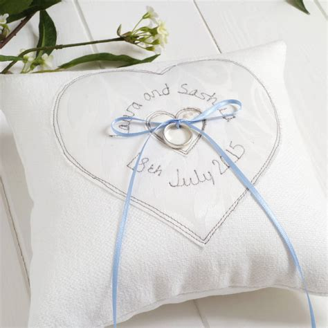 Wedding Ring Cushion by Personalised Wedding Ring Cushion By Milly And Pip