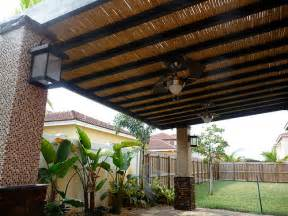Bamboo Patio Roof by Custom Bamboo Pergola With Built In Ceiling Fans Bamboo