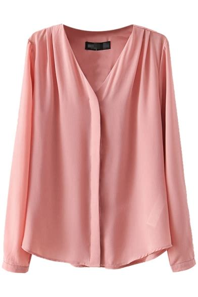 Plain V Neck Chiffon Shirt v neck plain concealed button fly chiffon shirt