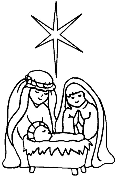 lds nativity coloring pages printable manger coloring page clipart best