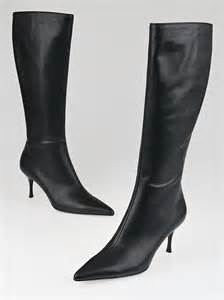 gucci black leather high heel boots size 9 5 yoogi