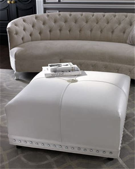 large white leather ottoman coco white leather ottoman by haute house