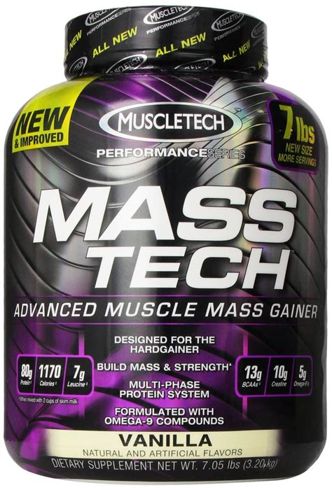 Masstech Muscletech mass tech by muscletech vanilla 7lb 13 servings