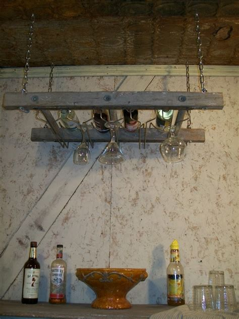 antique ladder wine rack for ceiling 4 bottles 3 rungs