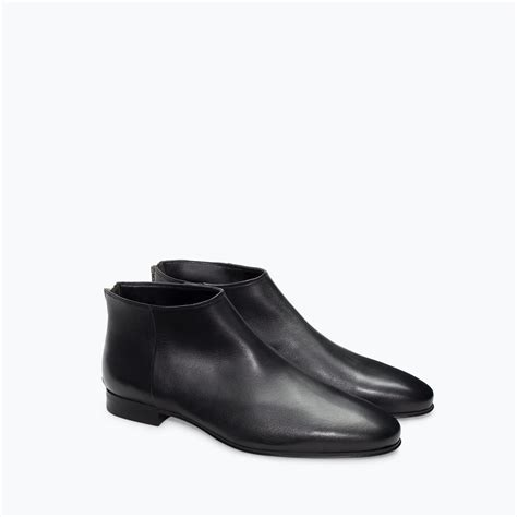 zara leather ankle boot with zip in black for lyst