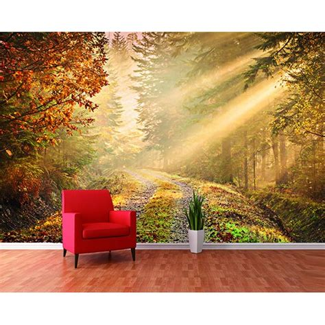 wall murals 1 wall forest path sun beam wallpaper mural w8p forest 001