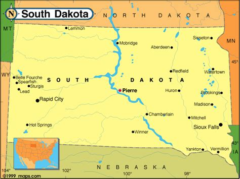 south dakota in usa map south dakota map