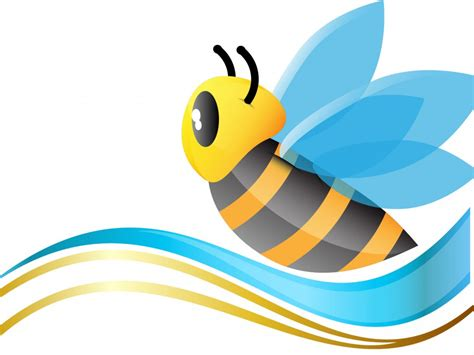cute bee ppt backgrounds animals blue yellow templates